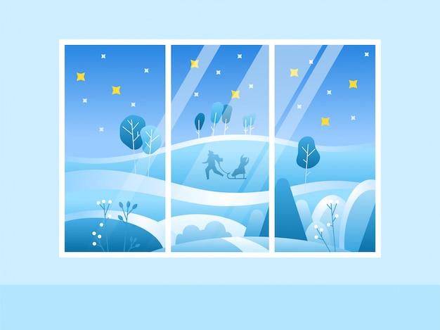 Winter merry christmas-venster met uitzicht op het besneeuwde bos