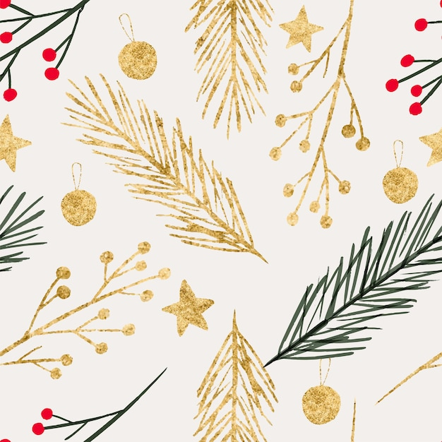 Winter naadloos patroon kerstkrans goud dennenboom vuren decoratie-elementen hulstbes