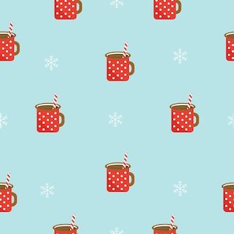 Winter naadloos patroon met warme chocolademelk en sneeuwvlokken vectorbeelden