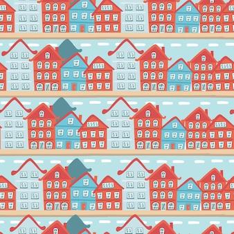 Winter naadloze patroon met huizen Premium Vector