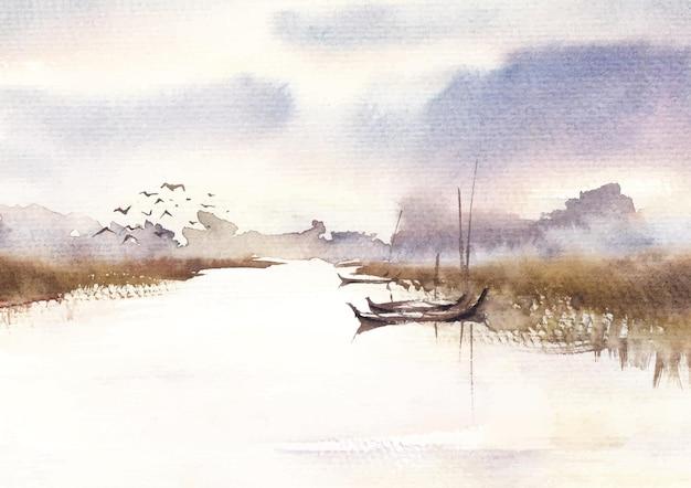 Winter natuur dorp kanaal aquarel verf