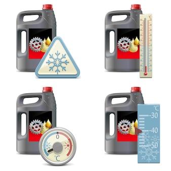 Winter olie pictogrammen geïsoleerde illustratie