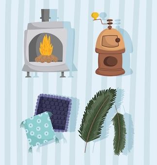 Winter pictogrammen instellen houtkachel open haard kussens en takken gestreepte achtergrond