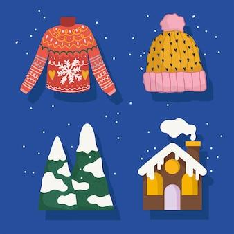Winter pictogrammen instellen trui hoed bergen sneeuw en huis cartoon
