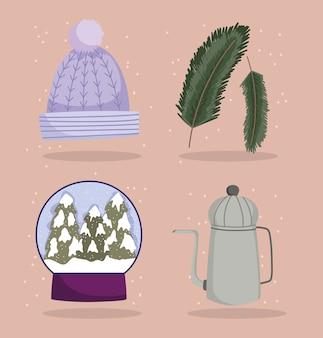 Winter pictogrammen instellen warme muts sneeuwbal theepot en takken boom