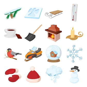 Winter pictogrammen pictogrammen instellen in cartoon stijl vector