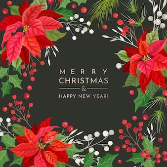 Winter poinsettia flower card, vector christmas uitnodiging sjabloon, gebladerte gouden seizoen feestdecoratie, hulst bladeren en bessen. floral frame ontwerp illustratie, groeten 2020, xmas stationair