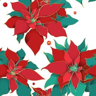 Winter poinsettia naadloze patroon voor kerstmis.