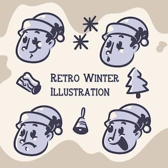 Winter retro illustraties