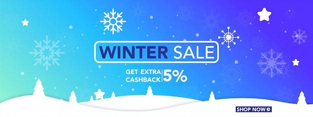 Winter sale banner met sneeuwvlokken