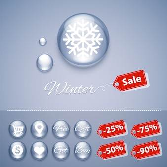 Winter sale glanzende knoppen sjablonen