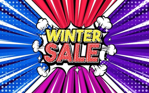 Winter sale pop-art stijl zin komische stijl