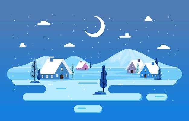 Winter scène sneeuwlandschap met pijnbomen bomen eenvoudige illustratie