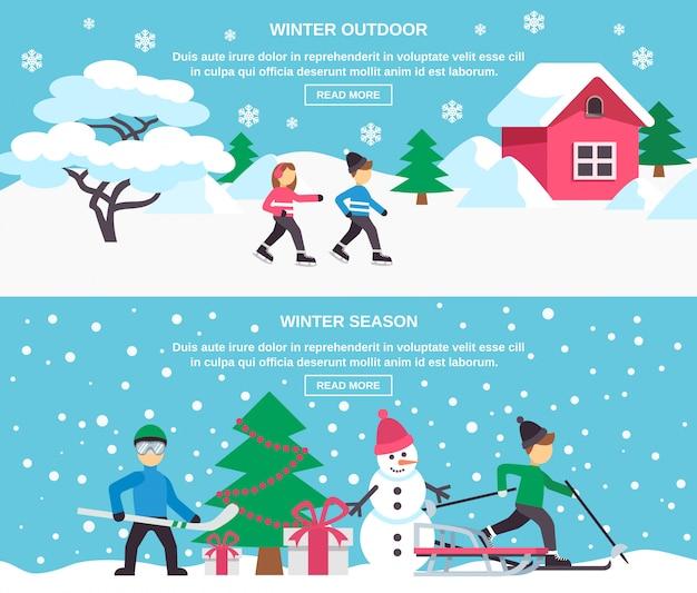 Winter seizoen vlakke banners instellen