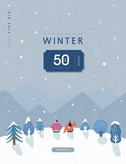 Winter shopping evenement illustratie.