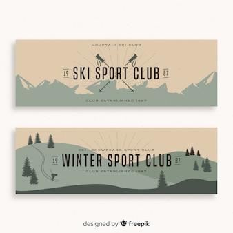 Winter ski sportclub banners