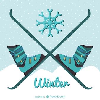Winter skiën illustratie