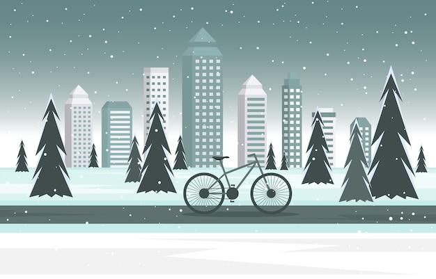 Winter sneeuw boom sneeuwval stad fiets landschap illustratie