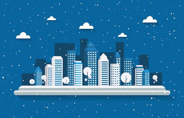 Winter sneeuw boom sneeuwval stad gebouw landschap illustratie