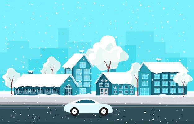 Winter sneeuw boom sneeuwval stad huis landschap illustratie