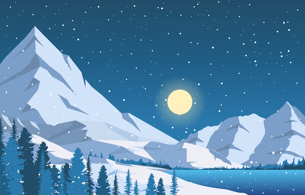 Winter sneeuw pine mountain lake sneeuwval natuur landschap illustratie