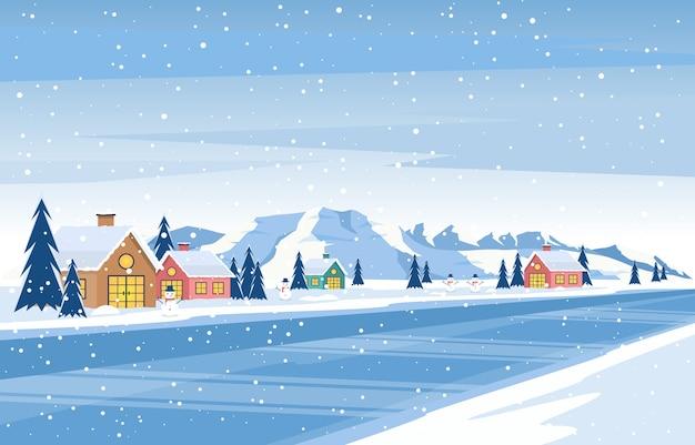 Winter snow pine mountain house street nature landscape illustration