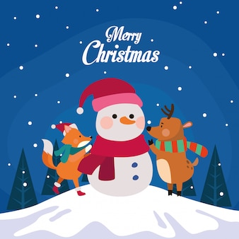 Winter snowscape kersttafereel met sneeuwpop illustratie