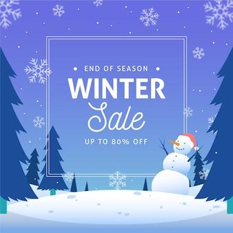 Winter speciale verkoopkorting met geïllustreerde sneeuwpop