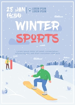 Winter sport poster platte sjabloon illustratie