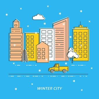 Winter stad illustratie