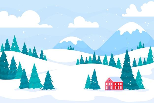 Winter stad landschap behang