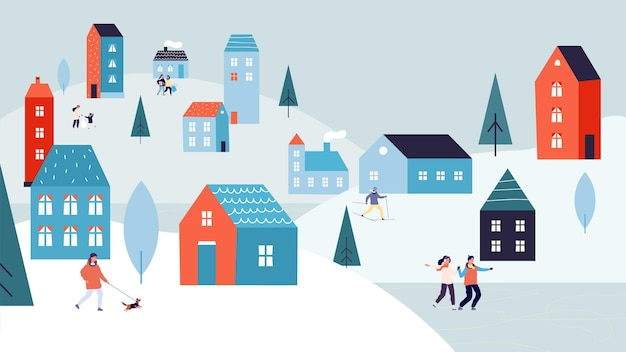 Winter stedelijk landschap. kerstvakanties, vakantieseizoen in de stad. kleine mensen schaatsen op een wandelende hond aan het meer. leuke voorstadhuizen op besneeuwde heuvels vectorillustratie. dorp kerstseizoen