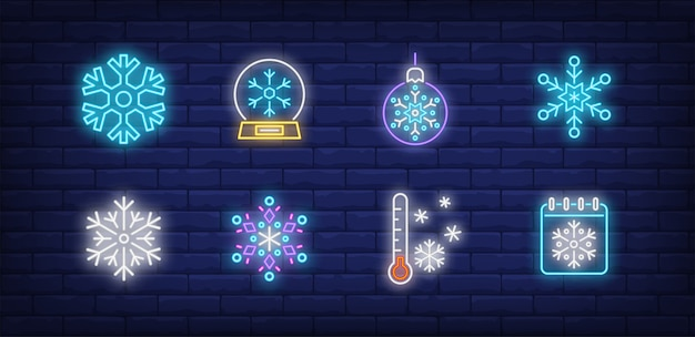 Winter symbolen in neon stijl met sneeuwvlokken