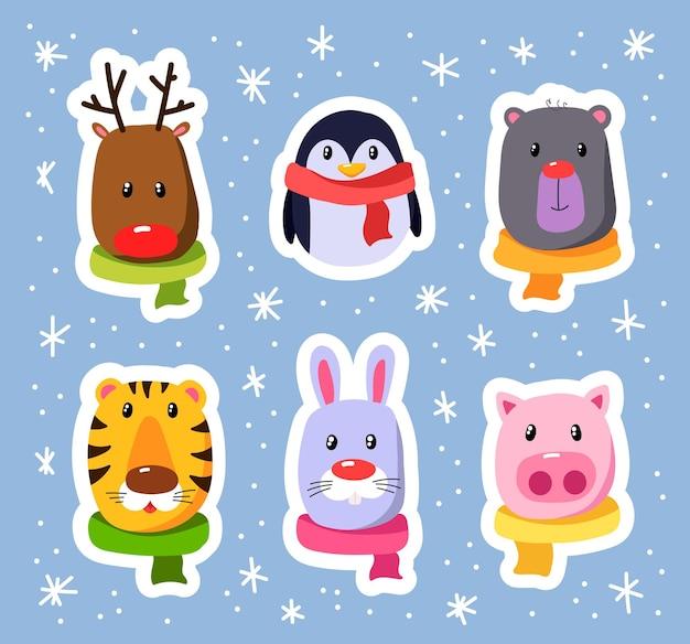 Winter tekenfilm dieren