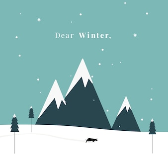 Winter thema briefkaart ontwerp vector