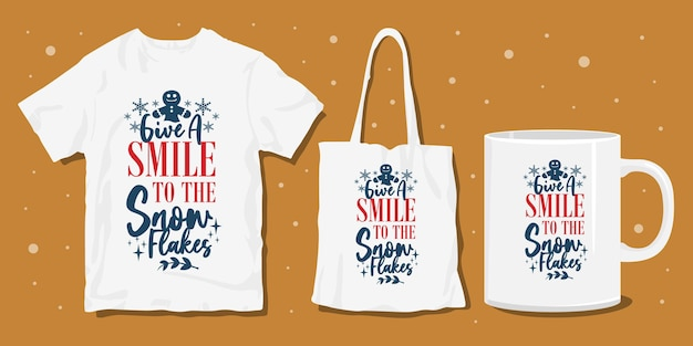 Winter typografie t-shirt merchandise ontwerp