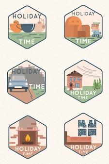 Winter vakantie badges
