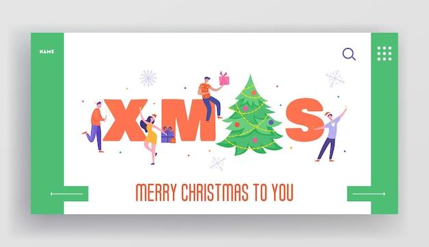 Winter vakantie bestemmingspagina sjabloon. prettige kerstdagen en gelukkig nieuwjaar website-indeling met platte mensen tekens vieren. aangepaste mobiele website friends party.