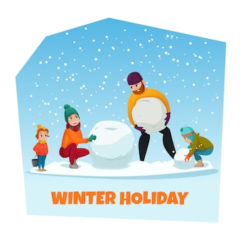 Winter vakantie poster met sneeuwpop en familie symbolen platte vectorillustratie