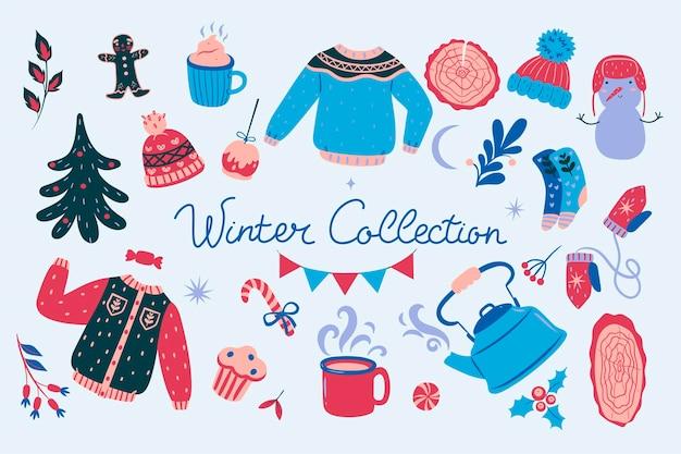 Winter vector collectie van designelementen. vectorafbeeldingen.