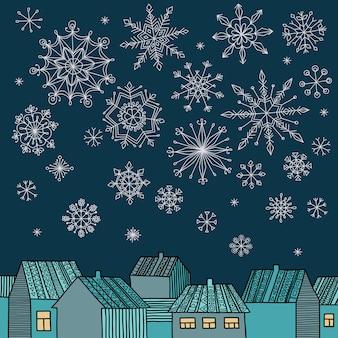 Winter vectorillustratie met huizen, vallende sneeuwvlokken en plaats voor uw tekst