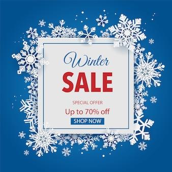 Winter verkoop achtergrond en sjabloon promo met sneeuwvlokken.