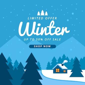 Winter verkoop achtergrond in plat ontwerp