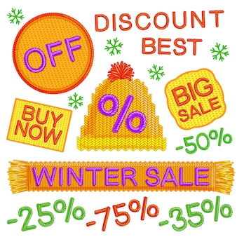 Winter verkoop badges set