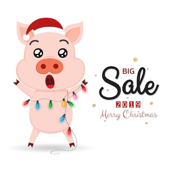 Winter verkoop banner met schattige varken en kerstverlichting.