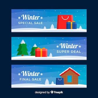 Winter verkoop banner set