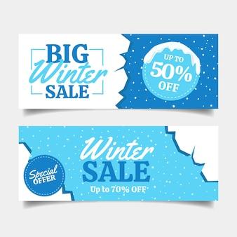 Winter verkoop banners met getekende elementen instellen