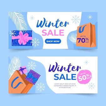 Winter verkoop banners met hand getrokken elementen