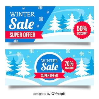 Winter verkoop bomen banner