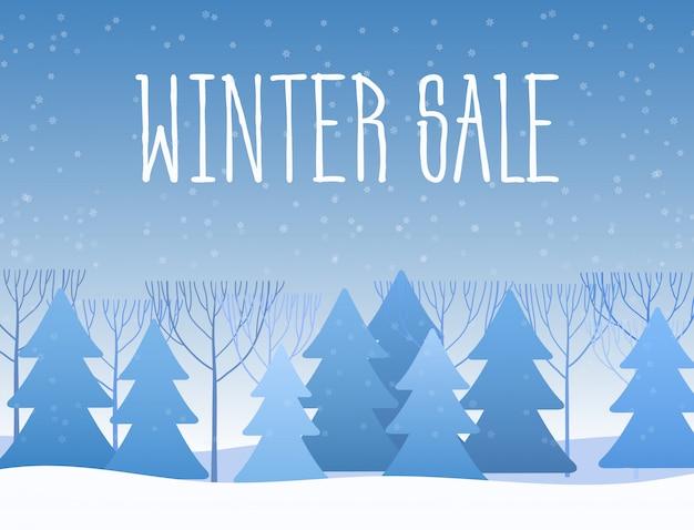 Winter verkoop boslandschap